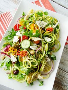 It's zoodle time again, zucchini noodles that is, but this time I placed them into a cold salad with a nice Mediterranean flare. It's light, fresh and healthy and you can eat this all summer long. It can be the perfect side dish to whatever you're grilling, a refreshing light lunch or you can even …