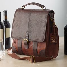 """""""Winner! This leather tote is elegant, sturdy and a perfect gift for any wine lover. The monogram option on the tag takes it over the top."""" Cissie C, PA - Three Bottle Leather BYO Wine Bag with Free Shipping"""