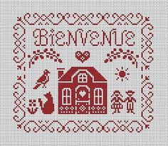 Bienvenue cross-stitch - free