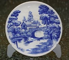 Vintage Nasco Teacup and Saucer Blue Lakeview Japan Hand Painted
