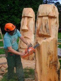 moaiheads chainsaw art.