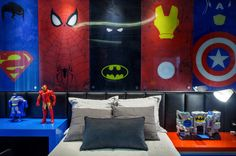 Fantastic photo - have a look at our write-up for many more designs! Marvel Bedroom, Lego Bedroom, Boys Bedroom Decor, Avengers Room, Nerd Room, Superhero Room, Kids Room Design, Room Themes, Boy Room