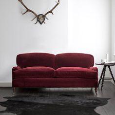 "Beaumont & Fletcher | Howard sofa carmine mohair, large 3-seater 94"""