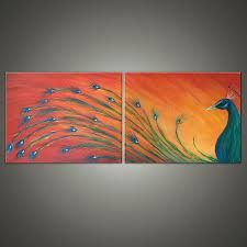 ideas painting abstract bird canvases for 2019 Bird Canvas, Small Canvas Art, Diy Canvas Art, Abstract Canvas, Painting Abstract, Peacock Painting, Peacock Art, Canvas Art Projects, Halloween Painting