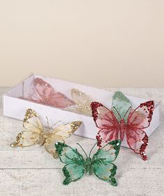 Love this 4'' Lace Butterfly Ornament Set by Transpac Imports on #zulily! #zulilyfinds