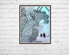 "Art Print 8""x10"", Blue Watercolor Zen Bird on a Wire Zentangle wall home decor - pinned by pin4etsy.com"
