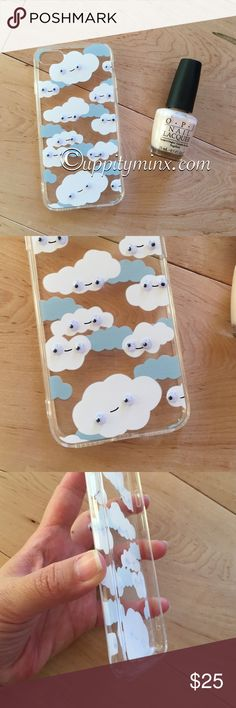 🆕 iPhone 7 Clouds Wiggly Eyes Case Brand new. Flexible plastic. Happy clouds with wiggly eyes. So cute! No trades. Uppity Minx  Accessories Phone Cases