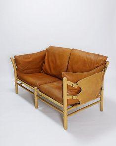 Scandinavian Modern Arne Norell Two Seater Sofa in Brown Leather Model Ilona For Sale Sofa Design, Furniture Design, Washington Houses, Mid Century Sofa, Danish Furniture, Brown Sofa, Sofa Sale, Sofas, Love Seat