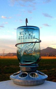 jar bird feeder | DIY - Mason Jar Bird Feeder | Craft Ideas did one similar see mine at: https://www.etsy.com/shop/PrettySimply?ref=search_shop_redirect
