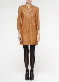 Vince leather shirt-dress, $975  To make a statement, pair with fur collar or vest