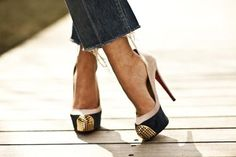Black and Gold :: Christian Louboutin Maggie Cap Toe
