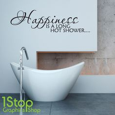 happiness is a long hot shower wall sticker quote bathroom wall art decal x247