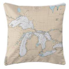 Great Lakes Nautical Chart Pillow