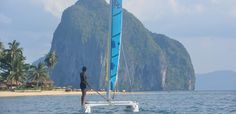 Sail arround the islands in Philippines. Beginers, experienced-sailor, a must-to-do to discover the bay on your own pace, or just learn something new during your holidays. Boat Rental, Palawan, Surfboard, Philippines, Sailing, Island, Block Island, Surfboards, Islands