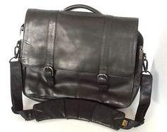 Kenneth-Cole-Leather-Briefcase-Black-Flapover-Laptop-Portfolio-Messenger-Bag