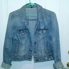 American Eagle denim jacket Way cute American Eagle denim jacket. Light factory distressing. Size is large. Is a little cropped. American Eagle Outfitters Jackets & Coats Jean Jackets
