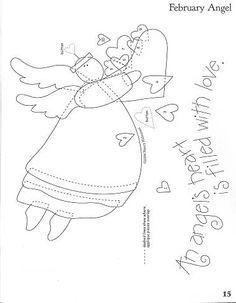 Madame Frufru Patchwork: Revista Art to heart - Angels Among Us Applique Templates, Applique Patterns, Craft Patterns, Stitch Patterns, Sewing Patterns, Owl Templates, Felt Patterns, Wool Applique, Applique Quilts