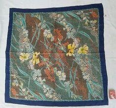 POCKET SQUARE Handkerchief Scarf SILK Navy Floral Formal Wedding ROLLED HEM 71cm