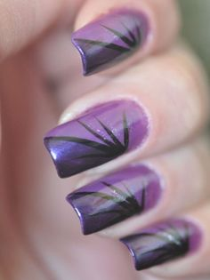 Beautiful Purple Gradiant Nail Art Design
