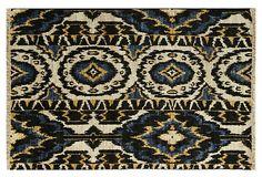 nice colour theme for my stone house.   Hand-Knotted Ikat Rug, Blue on OneKingsLane.com man cave rug!