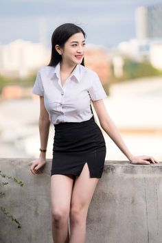 University Girl, Shirt Blouses, Shirts, Thailand, Mini Skirts, Fashion, Moda, Fashion Styles, Mini Skirt