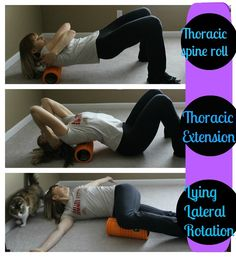 foam rolling - upper back ... love the cat in the pic, too :)