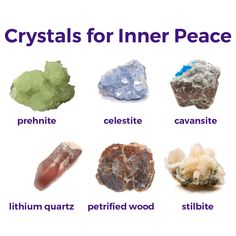 Inner peace crystals: Prehnite, stilbite, lithium quartz, petrified wood, Celestite, cavansite,