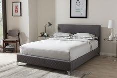 Baxton Studio Harlow Grey Quilted Upholstered Queen Size Platform Bed