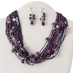 Necklace and earring, multi-strand, silver-finished steel and brass/ silver-coated plastic / glass, purple, multi-shape, 18 inches with 2-inch extender chain and lobster claw clasp, 2-inch earrings with leaverback earwire. Sold per set.