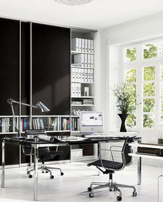 Use sliding door wardrobes for office storage - Ikea Pax would create a similar look Home Office Space, Home Office Desks, Office Furniture, Office Decor, Furniture Design, Office Ideas, Office Storage, Office Organization, Ikea Pax