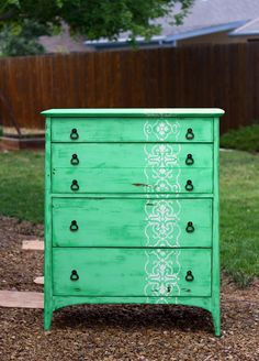"""Adorable Dresser Stenciling. Vote for this entry in """"Share Your Royal Design Studio Stencil Love""""-Enter Yourself to Win a Stencil Shopping Spree!! Links to our FB Stencil Love contest."""