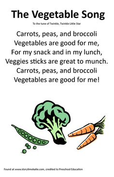 Itty Bitty Rhyme: The Vegetable Song - Santé des Enfants Preschool Charts, Preschool Food, Preschool Music, Preschool Education, Preschool Classroom, In Kindergarten, Preschool Activities, Pool Activities, Preschool Winter