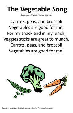 Itty Bitty Rhyme: The Vegetable Song - Santé des Enfants Preschool Charts, Preschool Food, Preschool Music, Preschool Education, Preschool Activities, Kindergarten Songs, Pool Activities, Preschool Winter, Circle Time Songs