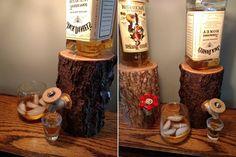 Handmade Wooden Log Liquor Dispenser