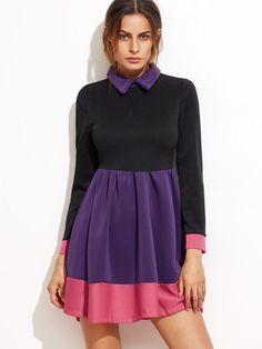 Color Block Long Sleeve Pleated Skater Dress