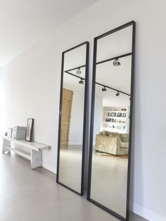 Steel mirror in front. Handmade industrial black steel mirror from Atelier Frontstaal. Available in 2 colors: bronze and black with clear or bronzed glass. Small Home Offices, Small Apartments, Drop Down Ceiling, Cosy Living, Küchen Design, Interior Design, Industrial Mirrors, Mirror Inspiration, Handmade Mirrors