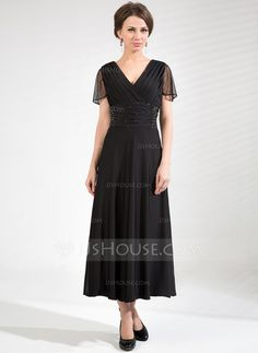 Mother of the Bride Dresses - $128.99 - A-Line/Princess V-neck Tea-Length Tulle Jersey Mother of the Bride Dress With Ruffle Beading (008039105) http://jjshouse.com/A-Line-Princess-V-Neck-Tea-Length-Tulle-Jersey-Mother-Of-The-Bride-Dress-With-Ruffle-Beading-008039105-g39105