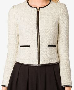 Faux Leather Trim Tweed Jacket | FOREVER21 - 2035360710