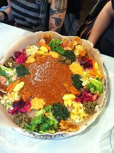 Four Person Vegan Platter at a little place in Winnipeg, Manitoba, Canada called Kokeb, an Ethiopian Restaurant.