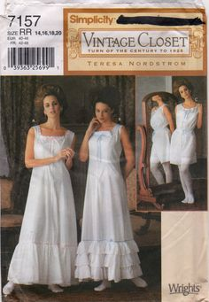 Simplicity 7157 Misses Designer VICTORIAN Lingerie undergarments costume Pattern Tuurn of the Century to 1925 Teresa Nordstrom Slip Camisole Bloomers womens sewing pattern by mbchills plus size dress Simplicity Sewing Patterns, Vintage Sewing Patterns, Costume Patterns, Dress Patterns, Lingerie Babydoll, Nightgown Pattern, Lingerie Patterns, Vintage Outfits, Vintage Fashion