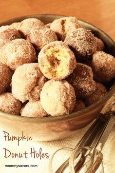 Pumpkin Donut Holes Recipe http://www.mommysavers.com/c/t/208511/pumpkin-donut-holes-recipe#