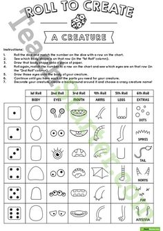 Teaching Resource: A fun, hands-on activity using dice and a chart to create a crazy creature.