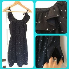 Starry night summer dress ✨ This lovely little black dress is covered with tiny stars. Perfect for when you want something light and not at all fussy, just slip over your head and go, but still look cute as a bug's ear! Elastic waist, pockets!!, and adjustable tie straps. EUC. Dresses Mini