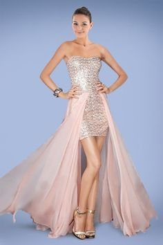 Romantic Strapless Cocktail Dress with Shinning Sequins and Detachable Skirt