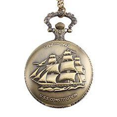 Unisex Sailing Boat Style U.S.S. Constitution Alloy Analog Quartz Pocket Watch (Bronze)