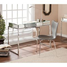 Stassi Mirrored Writing Desk with Drawer, Silver - Walmart.com