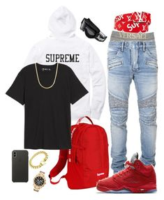 """""""Untitled #3"""" by wessjay on Polyvore featuring Versace, Balmain, Louis Vuitton, Public Opinion, International, Michael Kors, Apple, men's fashion and menswear"""