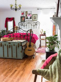 Warm Bedroom  - CountryLiving.com