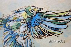 Wood Watercolor Wall Art Bird in flight Bird