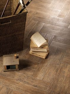 Wood Tile- like the tile pattern- slightly different than herringbone. Can't find manufacturer from the pin though. Wood Like Tile, Wood Look Tile Floor, Wood Grain Tile, Ceramic Floor Tiles, Wood Tile Pattern, Tile Patterns, Herringbone Pattern, Bathroom Renovations, Home Remodeling